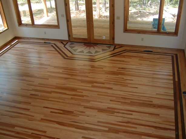 Hickory Floor with a Walnut Border